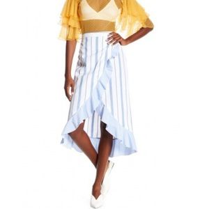 NWT Romeo & Juliet Striped Faux Wrap Midi Skirt